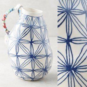 ANTHROPOLOGIE Keramisk Blue Star Patterned Vase